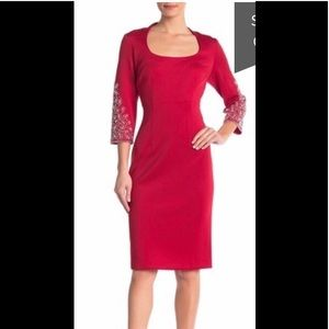 SL Fashions,Bejeweled Sleeve Dress,red,NWT